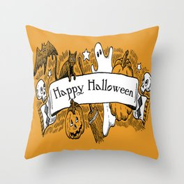 Halloween Banner Throw Pillow
