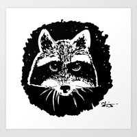 racoon Art Prints featuring Racoon by leart