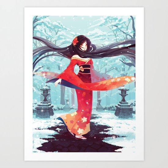 A walk in the asian winter Art Print