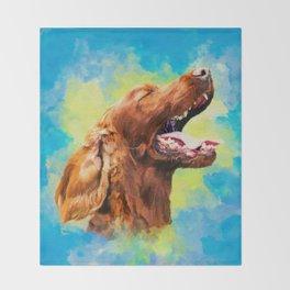 Irish Setter - happy dog Throw Blanket