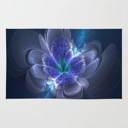 3D Blue Flower V1 Rug