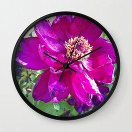 Magenta Peony Wall Clock
