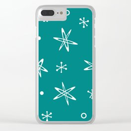 Atomic Era Space Age Teal Clear iPhone Case