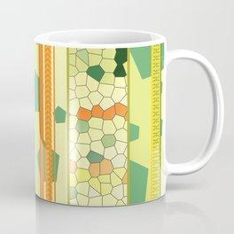 Vertical Stripes Pattern mosaic yellow green Coffee Mug