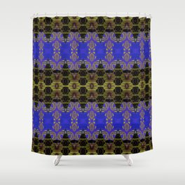 Ultra Lapis Blue Resonant Harmonic Boujee Boho Rococo Geometric Shower Curtain