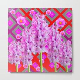 RED-GREY PURPLISH-PINK ROSES & HYACINTHS ART Metal Print