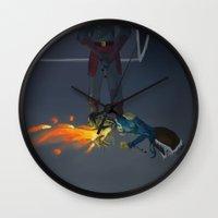 korra Wall Clocks featuring Korra Fighting  by Paula Urruti