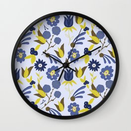 Blue Green Floral Pattern with Blue Background Wall Clock