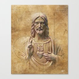 Vintage Drawing of Jesus Christ - Religious Canvas Print
