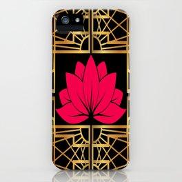 Art Deco Retro Lotus (amaranth-black) iPhone Case