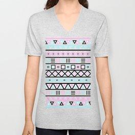 Aztec Influence Pattern Blue Black Pink White Unisex V-Neck
