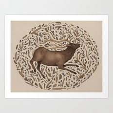 Elk in Nature Art Print