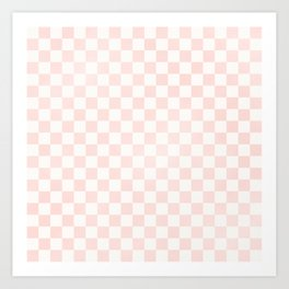 Pink Coral Checkers Art Print