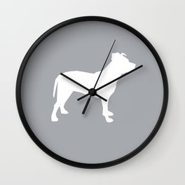 Pitbull silhouette grey and white minimal modern dog breed art pillow square Wall Clock