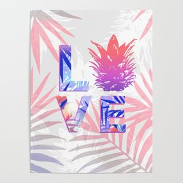 Love Pineapple Typography Tropical Boho Summer Vibes Poster