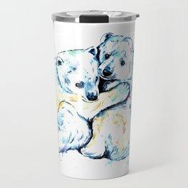 Polar Bear Brothers - Watercolor Painting Travel Mug