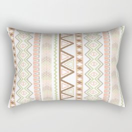 Aztec Andes Pattern Pink Brown Abstract Geometric Rectangular Pillow