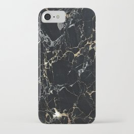 Marble Gold, Black and Silver iPhone Case