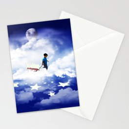 Star Boy Pulling Little Red Wagon Stationery Cards