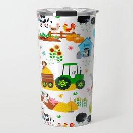 Cute Barnyard Farm Animals Pattern Travel Mug
