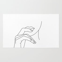Hands line drawing illustration - Grace Rug