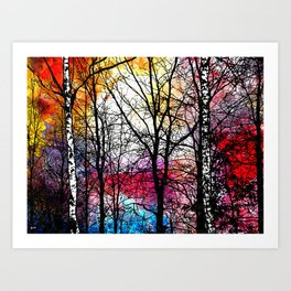 Tree Alley Colors Art Print