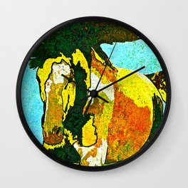 Horse Abstract Gold and Black Wall Clock