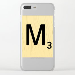 Scrabble M Decor, Scrabble Art, Large Scrabble Tile Initials Clear iPhone Case