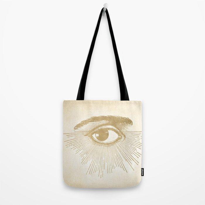 I See You. Vintage Gold Antique Paper Tote Bag