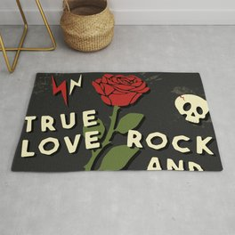 Grunge rock slogan print Rug