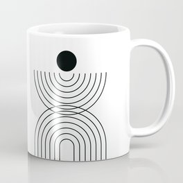 Geometric Lines in White and Black 6 (Rainbow and Sun Abstraction) Coffee Mug
