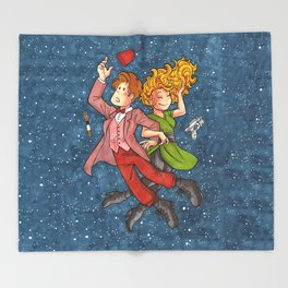Doctor and River in Space Throw Blanket
