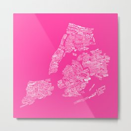 NYC Every-Neighborhood Map Metal Print