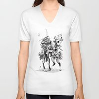 samurai V-neck T-shirts featuring Samurai! by HELLLOJOJO