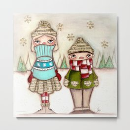 Really, Mom?   Cold Children in Winter Metal Print
