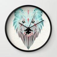 polar bear Wall Clocks featuring polar bear by Manoou