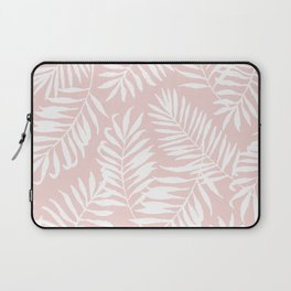 Tropical Palm Leaves - Pink & White Palm Leaf Pattern Laptop Sleeve