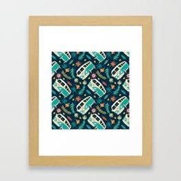 Retro Van Floral Pattern Framed Art Print