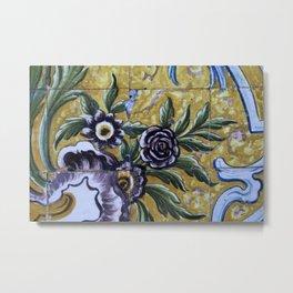 Antique floral ceramic tiles 1 Metal Print