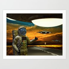 Hitchinghiking Across The Universe Art Print
