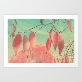 Flamingo Pink Autumn Leaves Art Print