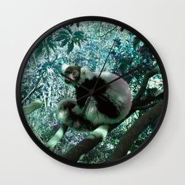 Black and White Ruffed Lemur in Turquoise Wall Clock
