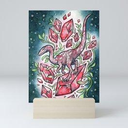Ruby Coelophysis   Dinosaur Crystal Watercolor Mini Art Print