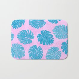 Pink Blue Hand Painted Swiss Cheese Plant Leaves Bath Mat