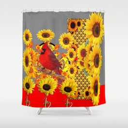 MODERN ABSTRACT RED CARDINAL YELLOW SUNFLOWERS GREY ART Shower Curtain
