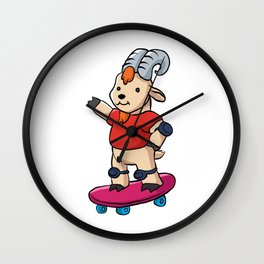 Goat With Skateboard. Wall Clock