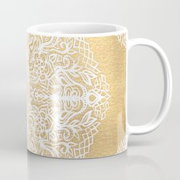 White Gouache Doodle on Gold Paint Coffee Mug