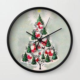 Vintage Christmas Tree Village Wall Clock
