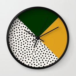 Dots and Colors - Green Mustard Wall Clock