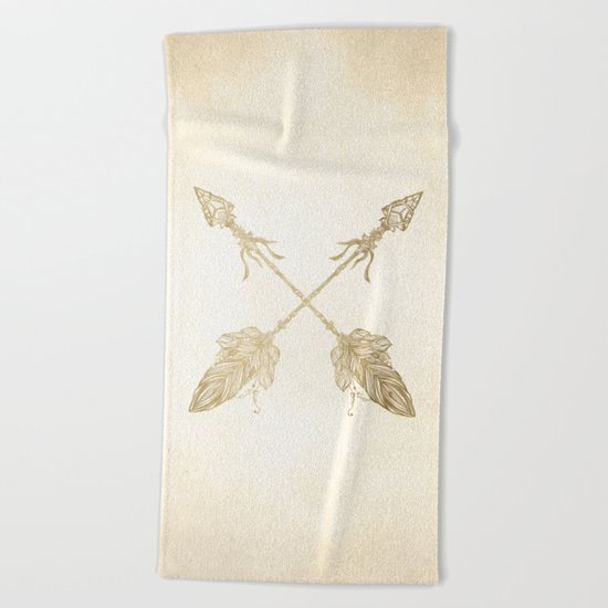 Tribal Arrows Gold on Paper Beach Towel